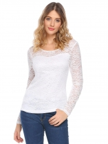 White Women Fashion Lace Long Sleeve Solid Slim Casual Top