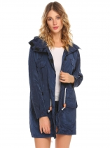 Dark blue Women Casual Detachable Hooded Long Sleeve Lightweight Jacket