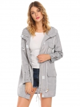 Gray Women Casual Detachable Hooded Long Sleeve Lightweight Jacket