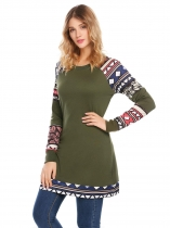 Army green O-Neck Long Sleeve Flower Print Patchwork Pullover Casual Sweatshirts