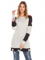 light grey O-Neck Long Sleeve Flower Print Patchwork Pullover Casual Sweatshirts