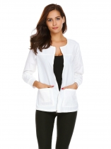 White Women Long Sleeve Zip Front Solid Casual Jacket with Pockets