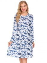 Royal Blue Women Watercolor Ink Printed O-Neck Long Sleeve Loose Dress