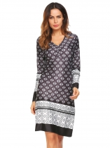 Black 1 Bohemia Boho Ruched V Neck Long Sleeve Print A Line Dress