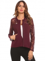 Dark red Women Casual O-Neck Long Sleeve Zipper Lace Patchwork Jacket