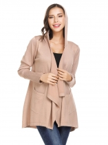 Apricot Women Draped Open Front Long Sleeve Hooded Casual Knit Cardigan with Pockets