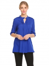 Royal Blue Women V-Neck 3/4 Sleeve Solid Loose Shirt Caual Fashion