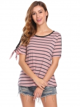 Pink Women Fashion Cold Shoulder O-Neck Short Sleeve Striped T-Shirt