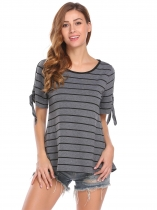 Gray Women Fashion Cold Shoulder O-Neck Short Sleeve Striped T-Shirt