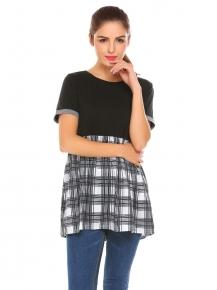 40e20ef3ef Black Camisa ocasional de la tela escocesa del remiendo manga corta las  mujeres O Tops blusa