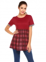 Wine red Frauen Oansatz Kurzarm Plaid Patchwork Freizeithemd Bluse Tops