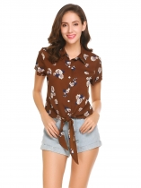 Brown Women Short Sleeve Tie Knot Front Floral Print Loose Chiffon Blouse Tops