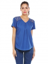 Royal Blue Women V-Neck Short Sleeve Pleated Casual Loose Blouse Top Shirts