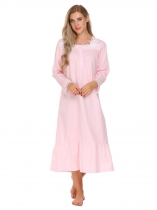Pink Victorian Long Sleeve Lace Patchwork Ruffled Hem Pajamas