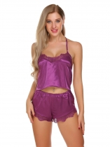 Purple Spaghetti Straps Satin Lace Patchwork Sleepwear Set