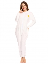 White Onesie Pajamas Long Sleeve Embroidery Hooded Fleece Jumpsuit Nightwear
