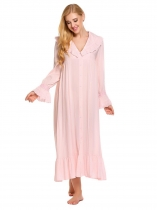Womens Victorian Bell Sleeve Pyjamas V Neck Nightgown Sleepwear Dress