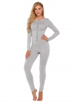 Grey Long Sleeve Solid Slim Supersoft Pajamas Set