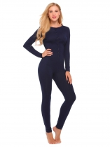 Navy blue Long Sleeve Solid Slim Supersoft Pajamas Set