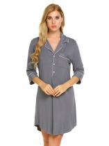 Gray Short Sleeve Pajamas Solid Sleepwear Shirt Dress