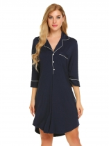 Navy blue Short Sleeve Pajamas Solid Sleepwear Shirt Dress