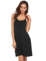 Black Women Sleeveless Spaghetti Strap Solid Nighties Sleepwear Dress