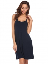 Navy blue Women Sleeveless Spaghetti Strap Solid Nighties Sleepwear Dress