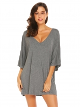 Gray Femmes Casual V Neck manches chauve souris Solide Loose Nightgown Night Dress