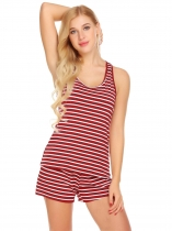 Wine red Women Sexy Sleepwear Rayon Striped Tank Top Pajama Set Pj Sho
