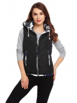 Black Women Drawstring Hooded Zip Up Patchwork Casual Down Vest with Pockets