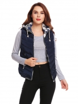 Navy blue Women Drawstring Hooded Zip Up Patchwork Casual Down Vest with Pockets