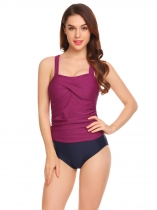 Purple Women Halter Swimwear Padded Patchwork One Piece Swimsuit Bathing Suit