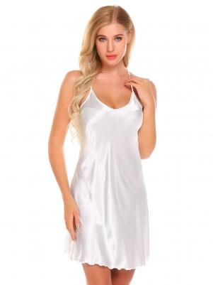5ed64fd1fe White Women Satin Sleepwear Spaghetti Strap Nightdress Slip Chemise  Camisole Nightgown
