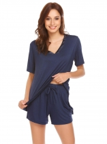 Navy blue Women V-Neck Sleepwear Viscose Short Sleeve Pajama Set Pj Shorts