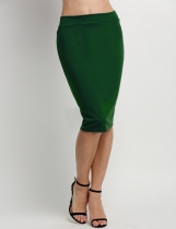 Green Solid Elastic High Waist Back Zipper Bodycon Pencil Skirt