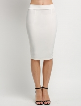 White Solid Elastic High Waist Back Zipper Bodycon Pencil Skirt