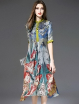 ELENYUN Stand Collar Half Sleeve Floral Print A-Line Dress