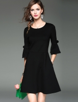 ELENYUN 3/4 Flare Sleeve High Waist Solid A-Line Short Dress