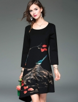 ELENYUN Round Neck Long Sleeve Print Asymmetrical A-Line Short Dress