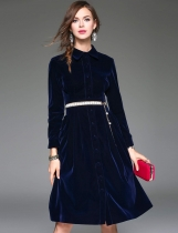 ELENYUN Turn Down Collar Long Sleeve High Waist Solid Button Down A-Line Swing Dress