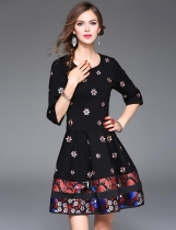 ELENYUN 3/4 Sleeve High Waist Floral Patchwork Embroidery A-Line Short Dress