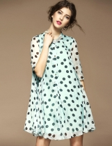 ELENYUN Stand Collar Half Sleeve Polka Dot Button Down A-Line Swing Short Dress
