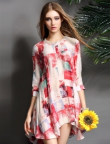 ELENYUN 3/4 Sleeve Print Asymmetrical A-Line Short Dress