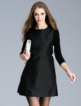 FANTIOW Casual O-Neck Three Quarter Sleeve Solid A-Line Dress with Lining