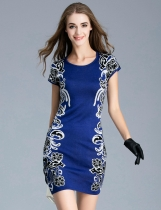 FANTIOW O-Neck Short Sleeve Prints Slim Pullover Dress