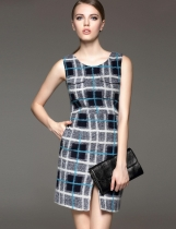 FANTIOW O-Neck Plaid Front Split Wool Blend Vest Dress with Lining