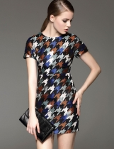 FANTIOW O-Neck Short Sleeve Houndstooth Slim Dress with Lining