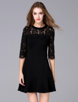 FANTIOW O-Neck Half Sleeve Lace Patchwork Slim Mermaid Dress