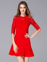 FANTIOW O-Neck demi-manche en dentelle Patchwork Slim Sirma Dress