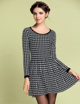 FANTIOW Slim Long Sleeve Houndstooth A-line Robe de soirée